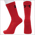 UNDER ARMOUR Basketball Crew Socks 赤/黒