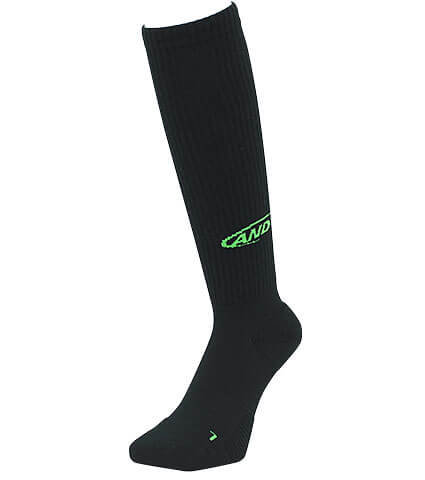 AND1 High-Supporting Knee Hi Socks Hook Logo 黒/緑