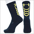 UNDER ARMOUR Basketball Novelty Crew Socks ミッドナイトネイビー/ゴールド