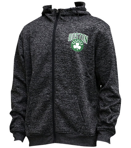 UNK Black Poly Space Dye Poly Full Zip Hoodie Celtics