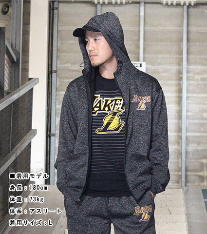UNK Black Poly Space Dye Poly Full Zip Hoodie ロサンゼルス・レイカーズ