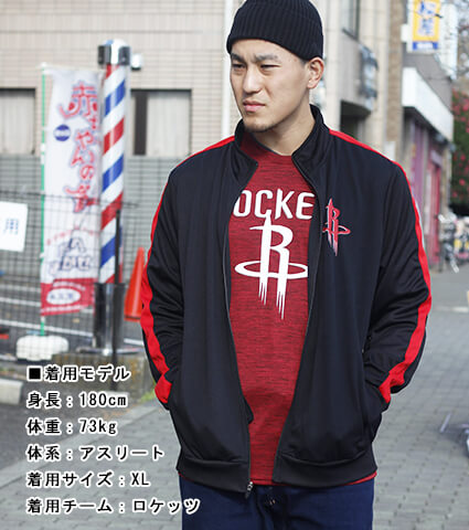 UNK Plytrc Slv Taping Track Jacket 黒/ロケッツ