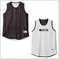 AKTR Brush Pinstripe Rev Tank 黒/白