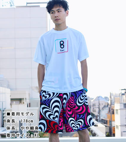Ballist a Lot of Hearts Zipper Shorts ピンク/パープル/赤