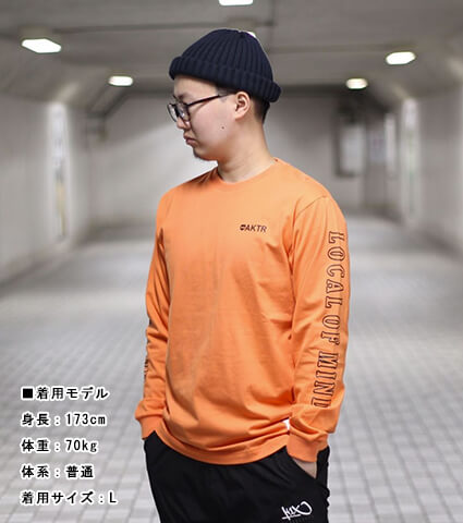 AKTR 68&BROTHERS Crew Style L/S Tee オレンジ
