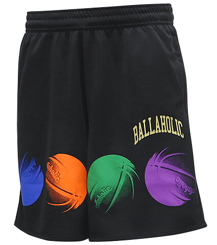 Ballaholic College Logo Ball Mark Zip Shorts 黒