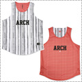 Arch Rough Stripe Rev. Tank 白/ピンク